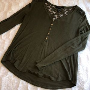 Olive Green Button Up Long Sleeve Henley Lace Back